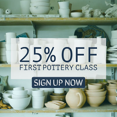 25% off first pottery class