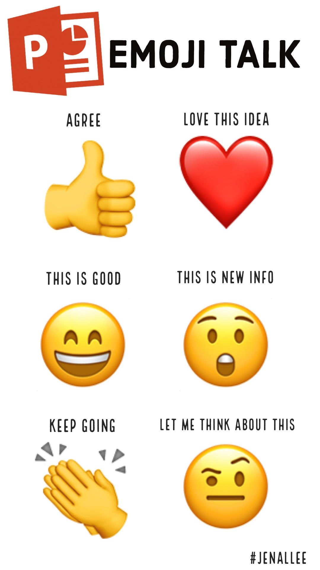 ❤ ❤ 👍 👏 😲 😄 🤨 EMOJI TALK Agree #Jenallee Keep Going This is Good Love This Idea This is New Info Let Me Think About This