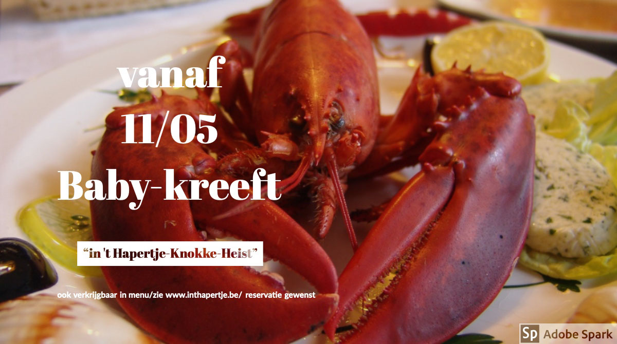 """vanaf 11/05<BR> Baby-kreeft<BR> vanaf 11/05<BR> Baby-kreeft<BR><P>""""in 't Hapertje-Knokke-Heist""""<P>ook verkrijgbaar in menu/zie www.inthapertje.be/  reservatie gewenst"""