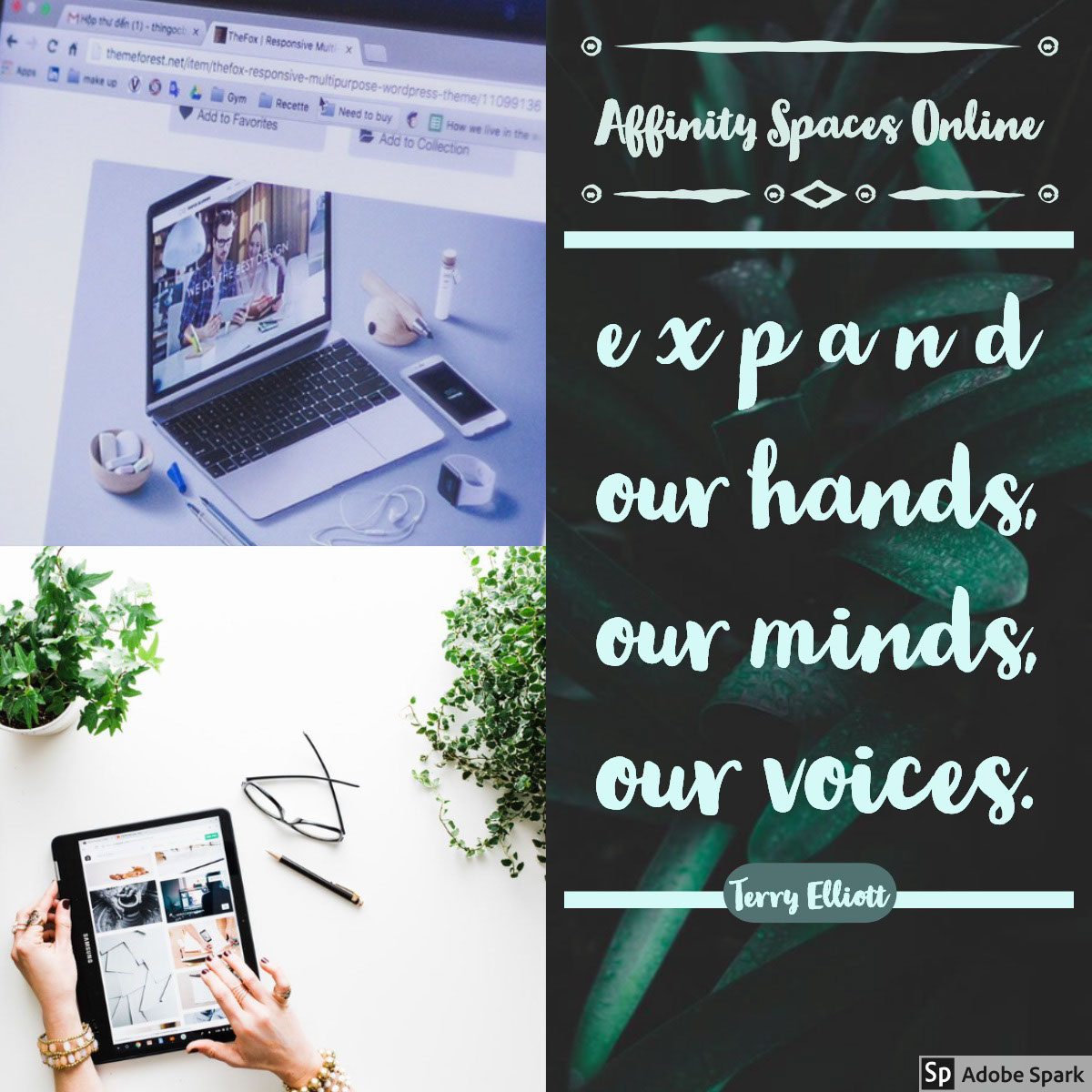 e x p a n d <BR>our hands, <BR>our minds, our voices. e x p a n d <BR>our hands, <BR>our minds,  our voices.<P>Affinity Spaces Online <P>Terry Elliott