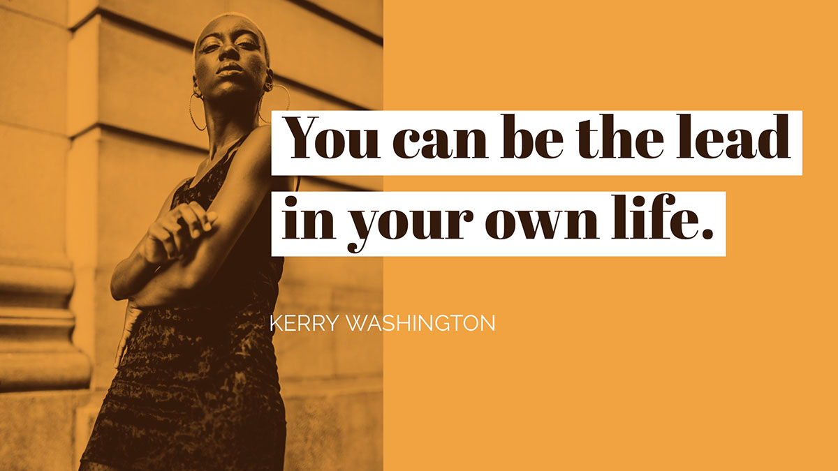 Orange Motivational Confidence Quote Social Media Post Graphic with Confident Woman You can be the lead in your own life. Kerry Washington