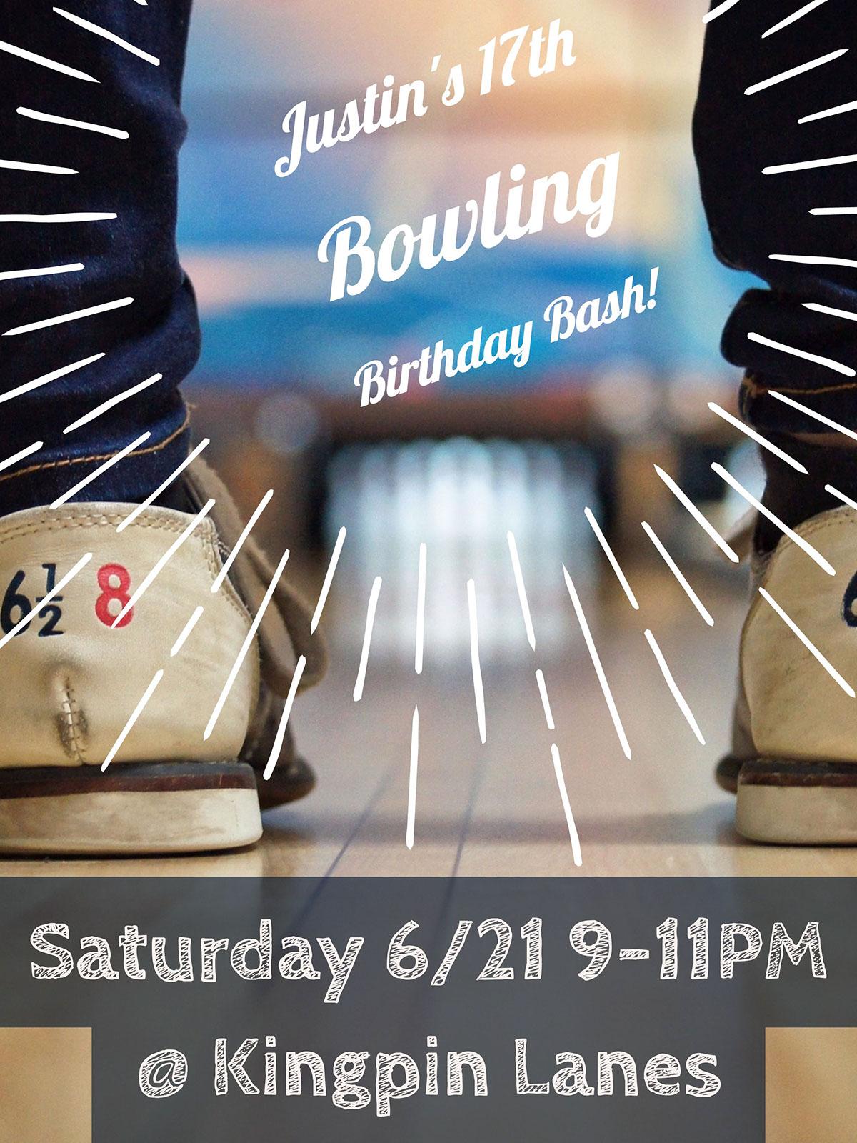 Justin's 17th Bowling Birthday Bash! Justin's 17th Bowling Birthday Bash! Saturday 6/21 9-11PM        @ Kingpin Lanes