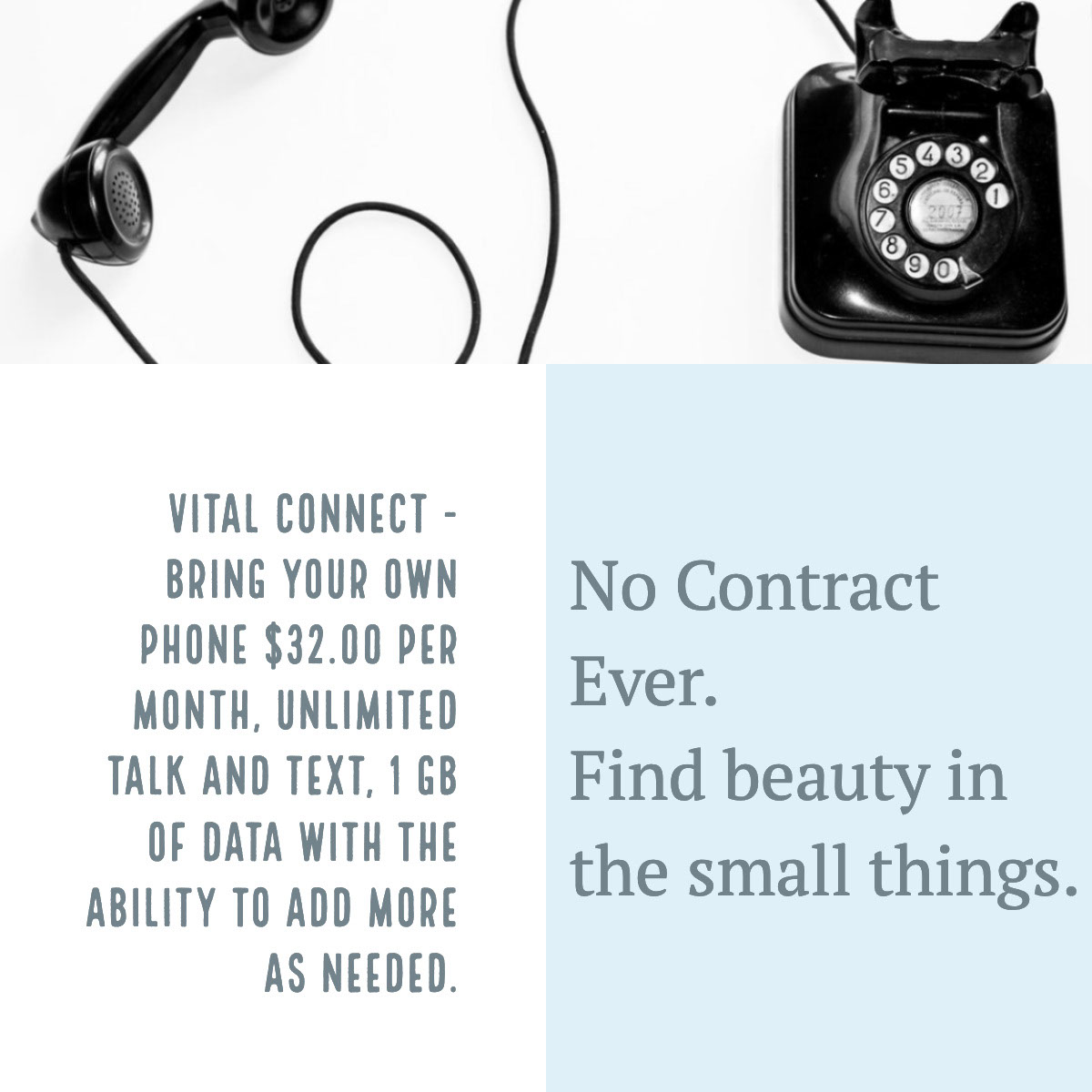 No Contract Ever. <BR>Find beauty in the small things. No Contract Ever. <BR>Find beauty in the small things.<P>Vital Connect - Bring Your Own Phone $32.00 per month, unlimited talk and text, 1 GB of Data with the ability to add more as needed.