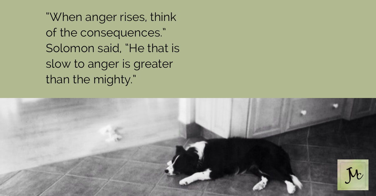 """""""When anger rises, think of the consequences."""" Solomon said, """"He that is slow to anger is greater than the mighty."""" """"When anger rises, think of the consequences."""" Solomon said, """"He that is slow to anger is greater than the mighty."""""""