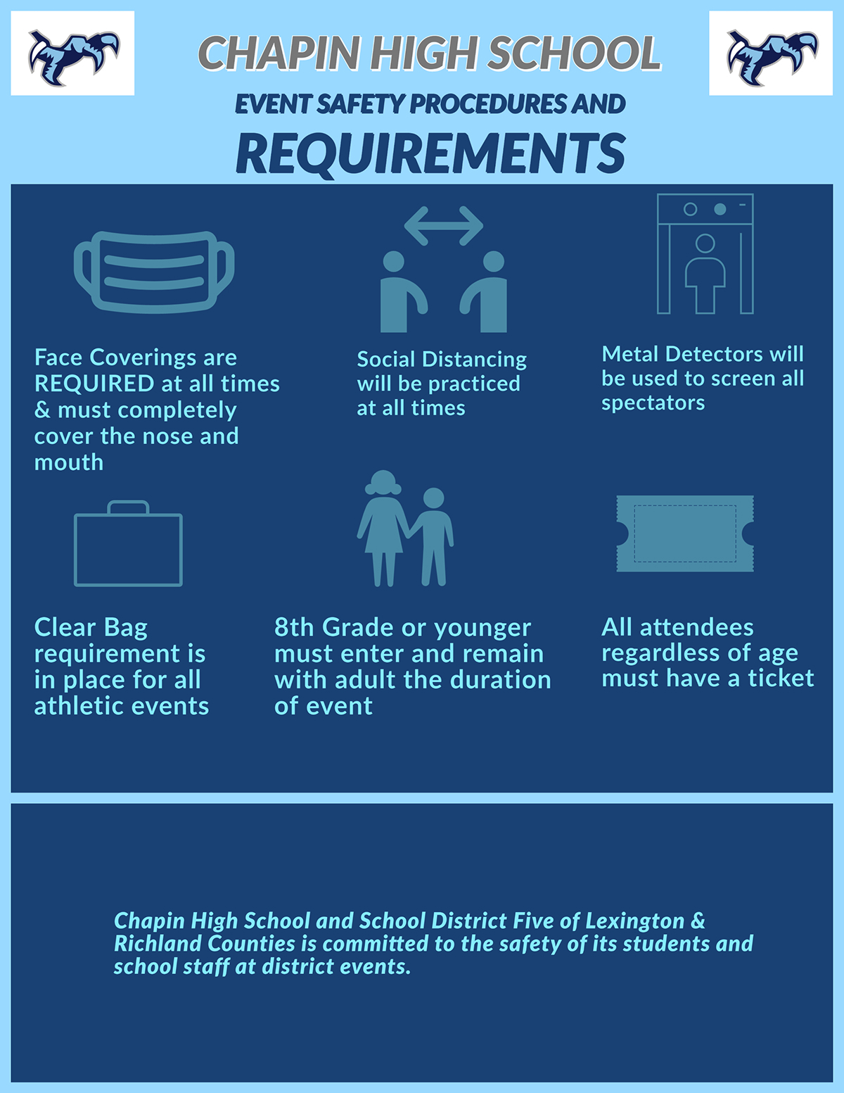 CHAPIN HIGH SCHOOL CHAPIN HIGH SCHOOL EVENT SAFETY PROCEDURES AND REQUIREMENTS 8th Grade or younger must enter and remain with adult the duration of event Clear Bag requirement is in place for all athletic events All attendees regardless of age must have a ticket Face Coverings are REQUIRED at all times & must completely cover the nose and mouth Chapin High School and School District Five of Lexington & Richland Counties is committed to the safety of its students and school staff at district events. Metal Detectors will be used to screen all spectators Social Distancing will be practiced at all times