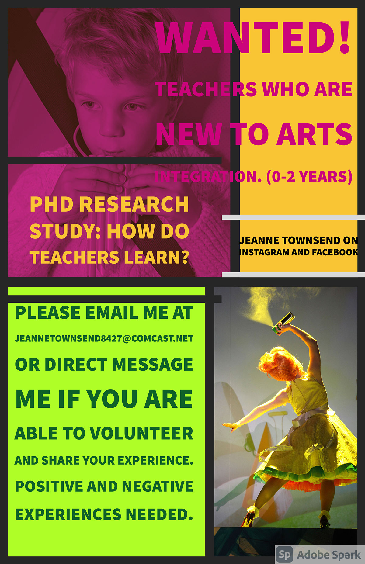Wanted! Teachers who are new to arts integration. (0-2 Years) Wanted! Teachers who are new to arts integration. (0-2 Years) PhD Research Study: How do teachers learn? Please email me at jeannetownsend8427@comcast.net or direct message me if you are able to volunteer and share your experience. Positive and Negative Experiences Needed. jeanne townsend on instagram and facebook