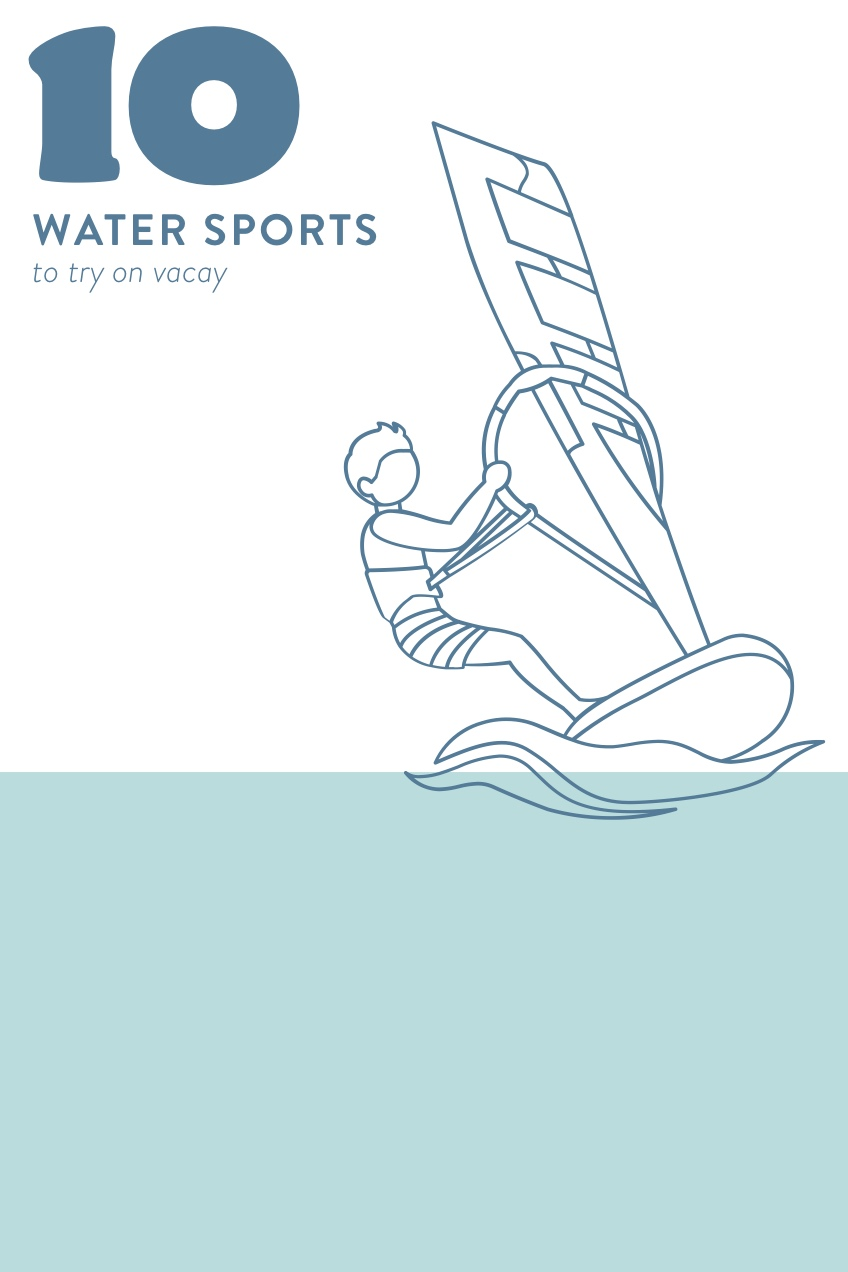 Blue and White Water Sports Pinterest Graphic with Windsurfer 10<P>Water sports <P>to try on vacay