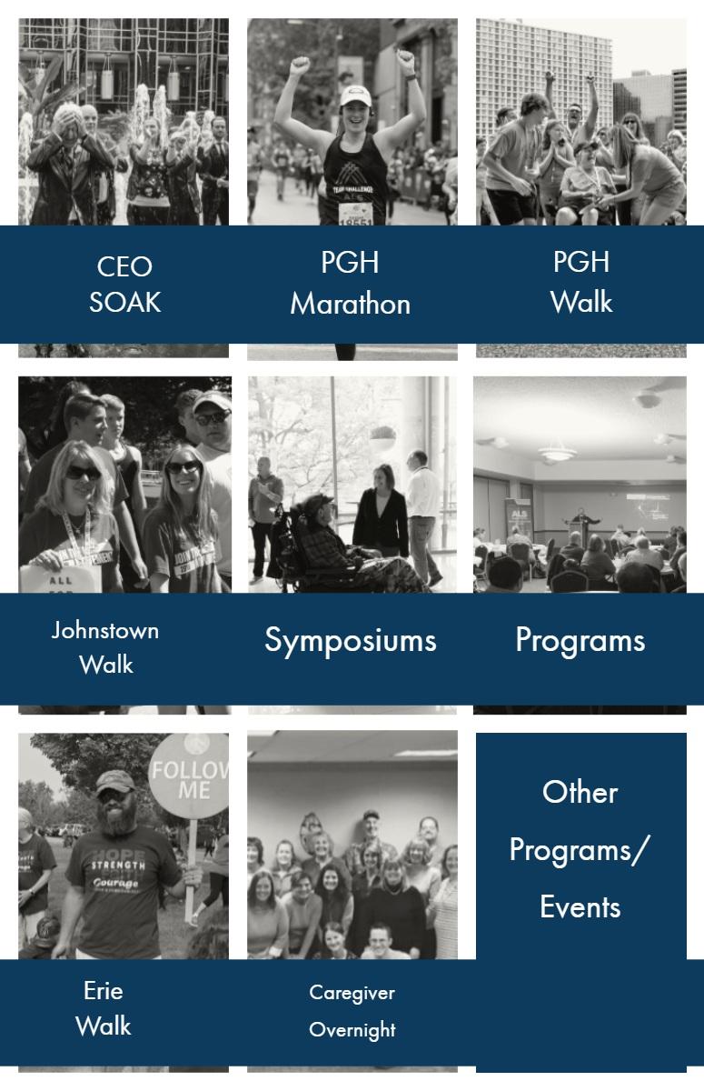 Symposiums Symposiums   Programs   PGH  Marathon   PGH  Walk   Other  Programs/  Events   CEO   SOAK   Johnstown  Walk   Erie Walk   Caregiver  Overnight