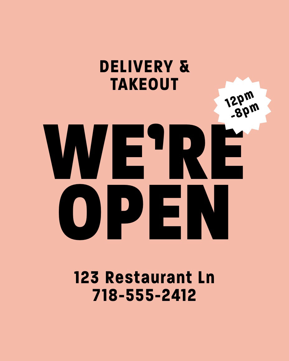 Orange and Black Typography Restaurant Food Delivery Service Instagram Portrait Ad WE'RE OPEN 12pm -8pm DELIVERY & TAKEOUT 123 Restaurant Ln 718-555-2412