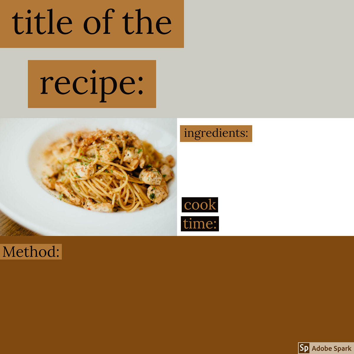 title of the recipe: title of the recipe:<P>Method:<P>cook time:<P>ingredients: