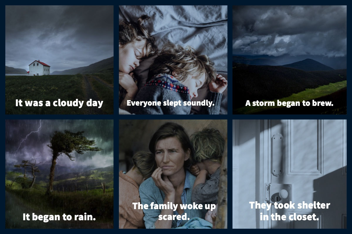 Story or Comic Strip It was a cloudy day<P>They took shelter<BR>in the closet.<P>It began to rain.<P>The family woke up<BR>scared.<P>A storm began to brew.<P>Everyone slept soundly.