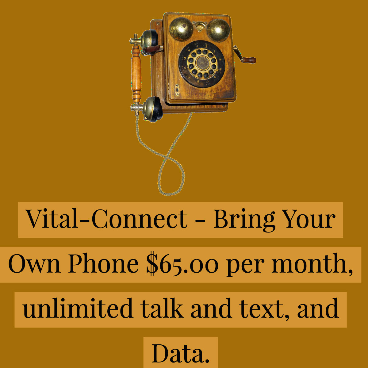 Vital-Connect - Bring Your Own Phone $65.00 per month, unlimited talk and text, and Data.  Vital-Connect - Bring Your Own Phone $65.00 per month, unlimited talk and text, and Data.