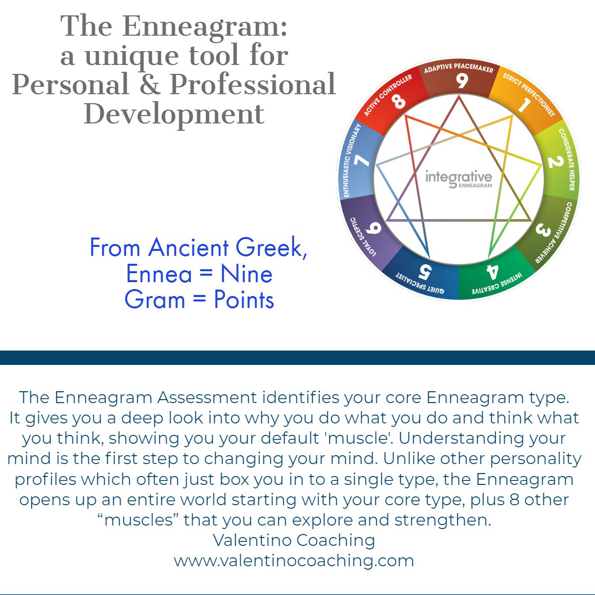 "The Enneagram Assessment identifies your core Enneagram type. It gives you a deep look into why you do what you do and think what you think, showing you your default 'muscle'. Understanding your mind is the first step to changing your mind. Unlike other personality profiles which often just box you in to a single type, the Enneagram opens up an entire world starting with your core type, plus 8 other ""muscles"" that you can explore and strengthen.<BR>Valentino Coaching<BR>www.valentinocoaching.com The Enneagram Assessment identifies your core Enneagram type. It gives you a deep look into why you do what you do and think what you think, showing you your default 'muscle'. Understanding your mind is the first step to changing your mind. Unlike other personality profiles which often just box you in to a single type, the Enneagram opens up an entire world starting with your core type, plus 8 other ""muscles"" that you can explore and strengthen.<BR>Valentino Coaching<BR>www.valentinocoaching.com<P>The Enneagram: a unique tool for Personal & Professional Development<P>From Ancient Greek,<BR>Ennea = Nine<BR>Gram = Points"