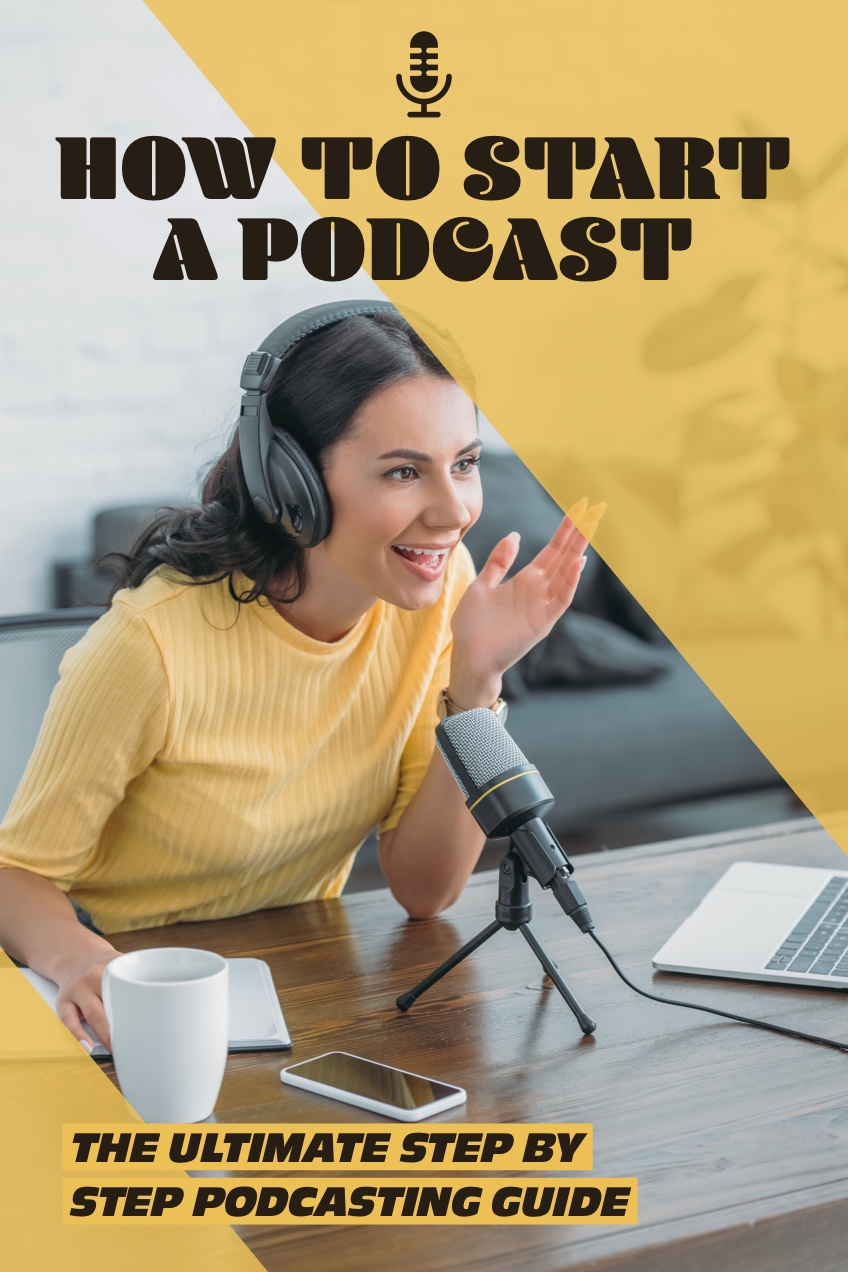 Yellow and Grey, Light Tonedk Podcast Starting Guide, Pinterest Post