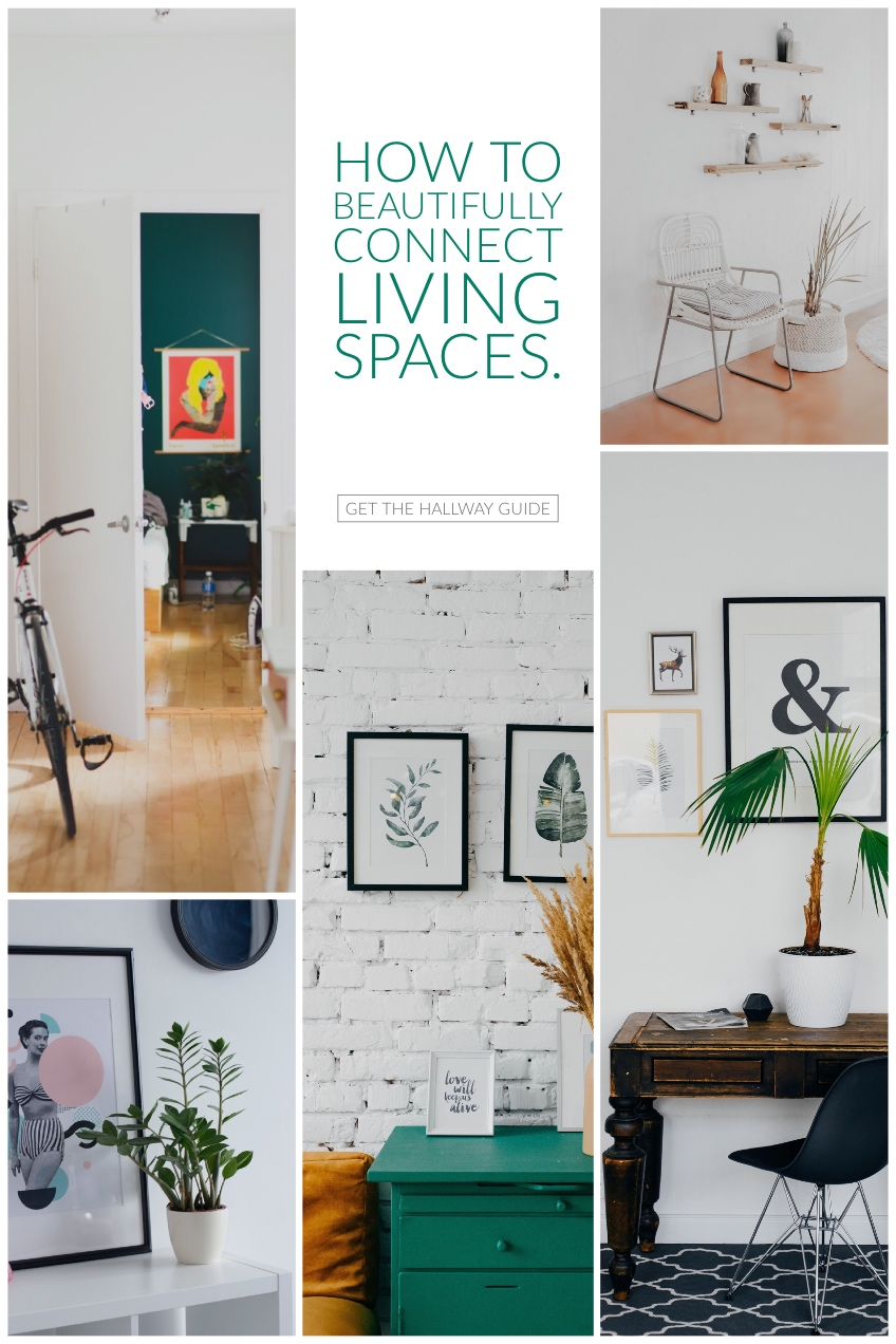 Interior Design Pinterest Graphic with Collage How to <BR>Beautifully connect living spaces.<P>Get the Hallway Guide