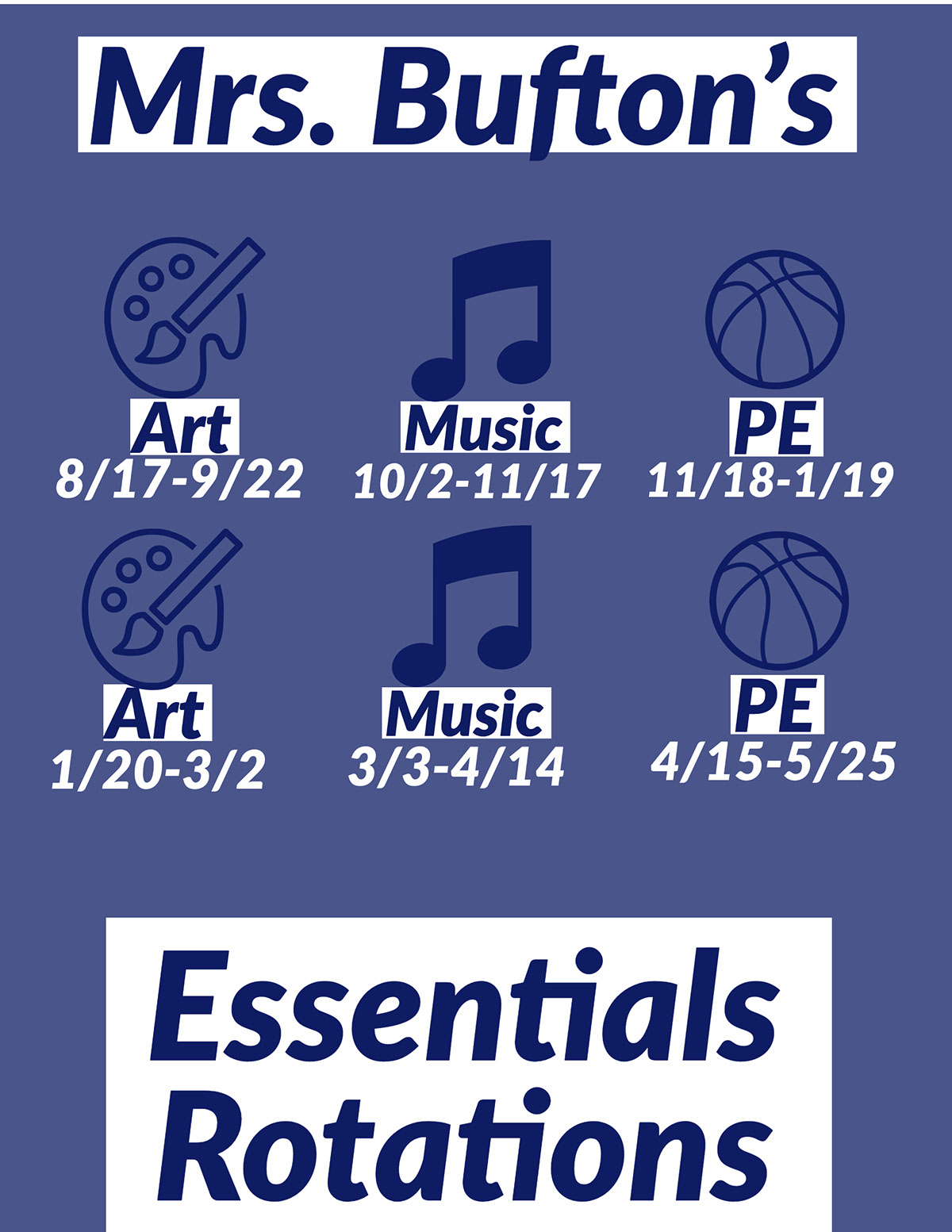Mrs. Bufton's Essentials  Essentials Rotations Mrs. Bufton's PE PE Art Art Music Music 8/17-9/22 1/20-3/2 3/3-4/14 4/15-5/25 10/2-11/17 11/18-1/19