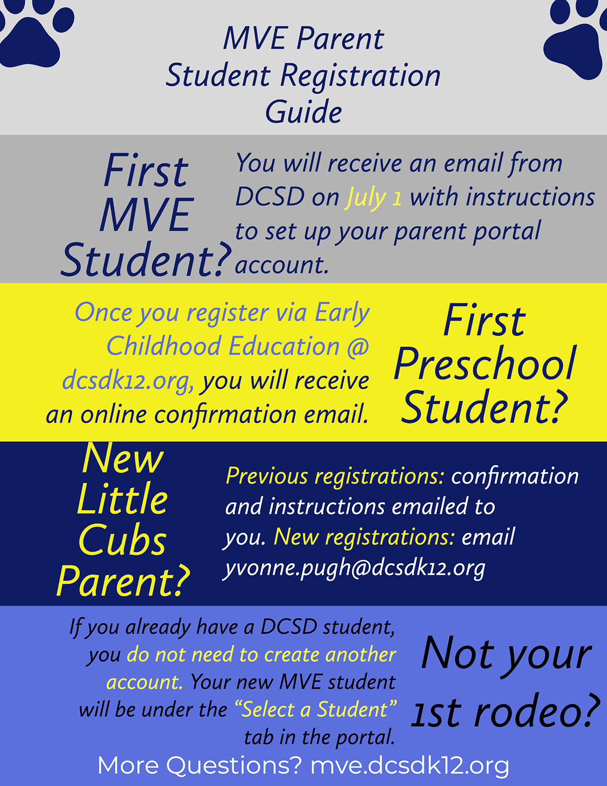 "First MVE Student? First MVE Student? First Preschool Student? Not your 1st rodeo? New Little Cubs Parent? MVE Parent Student Registration Guide More Questions? mve.dcsdk12.org Once you register via Early Childhood Education @ dcsdk12.org, you will receive an online confirmation email. You will receive an email from DCSD on July 1 with instructions to set up your parent portal account. Previous registrations: confirmation and instructions emailed to you. New registrations: email yvonne.pugh@dcsdk12.org If you already have a DCSD student, you do not need to create another account. Your new MVE student will be under the ""Select a Student"" tab in the portal."