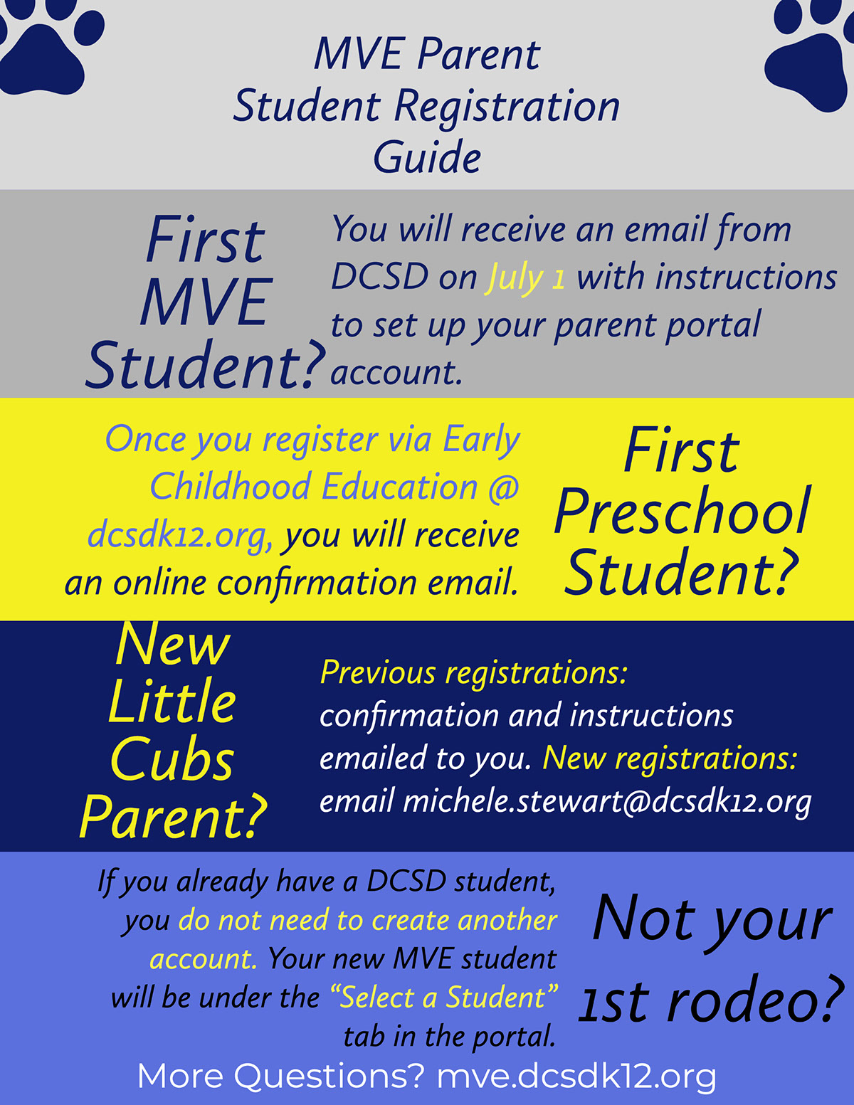 "First MVE Student? First MVE Student? First Preschool Student? Not your 1st rodeo? New Little Cubs Parent? MVE Parent Student Registration Guide More Questions? mve.dcsdk12.org Once you register via Early Childhood Education @ dcsdk12.org, you will receive an online confirmation email. You will receive an email from DCSD on July 1 with instructions to set up your parent portal account. Previous registrations: confirmation and instructions emailed to you. New registrations: email michele.stewart@dcsdk12.org If you already have a DCSD student, you do not need to create another account. Your new MVE student will be under the ""Select a Student"" tab in the portal."