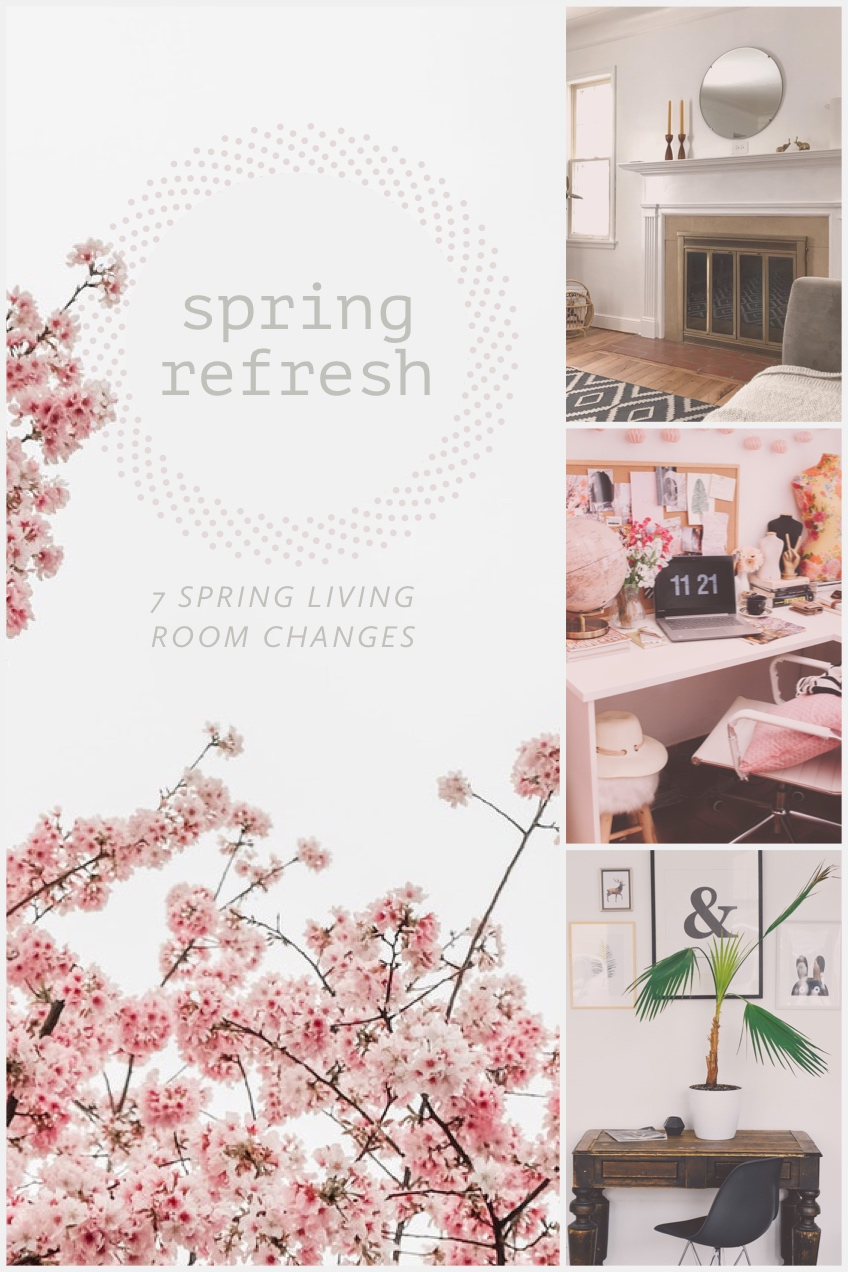 White and Pink Home Design Social Post spring refresh<P>7 SPRING LIVING ROOM CHANGES