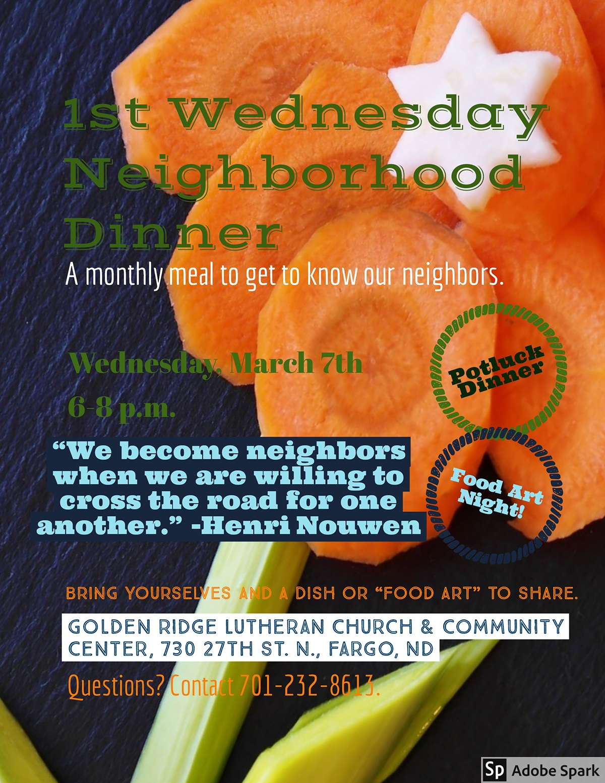 1st Wednesday Dinner Jan. 17