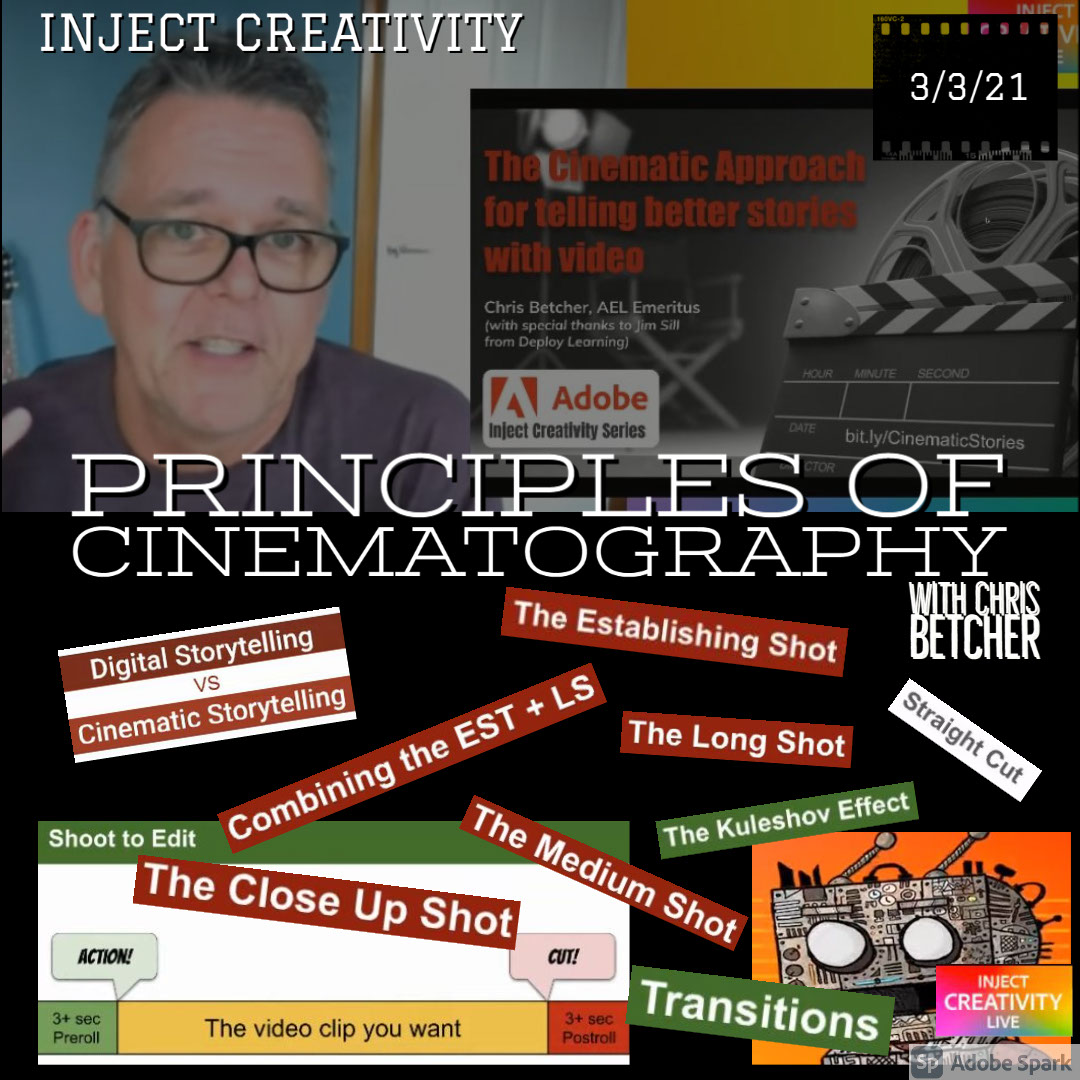 Principles of CINEMATOGRAPHY Principles of CINEMATOGRAPHY Inject Creativity with CHRIS BETCHER 3/3/21