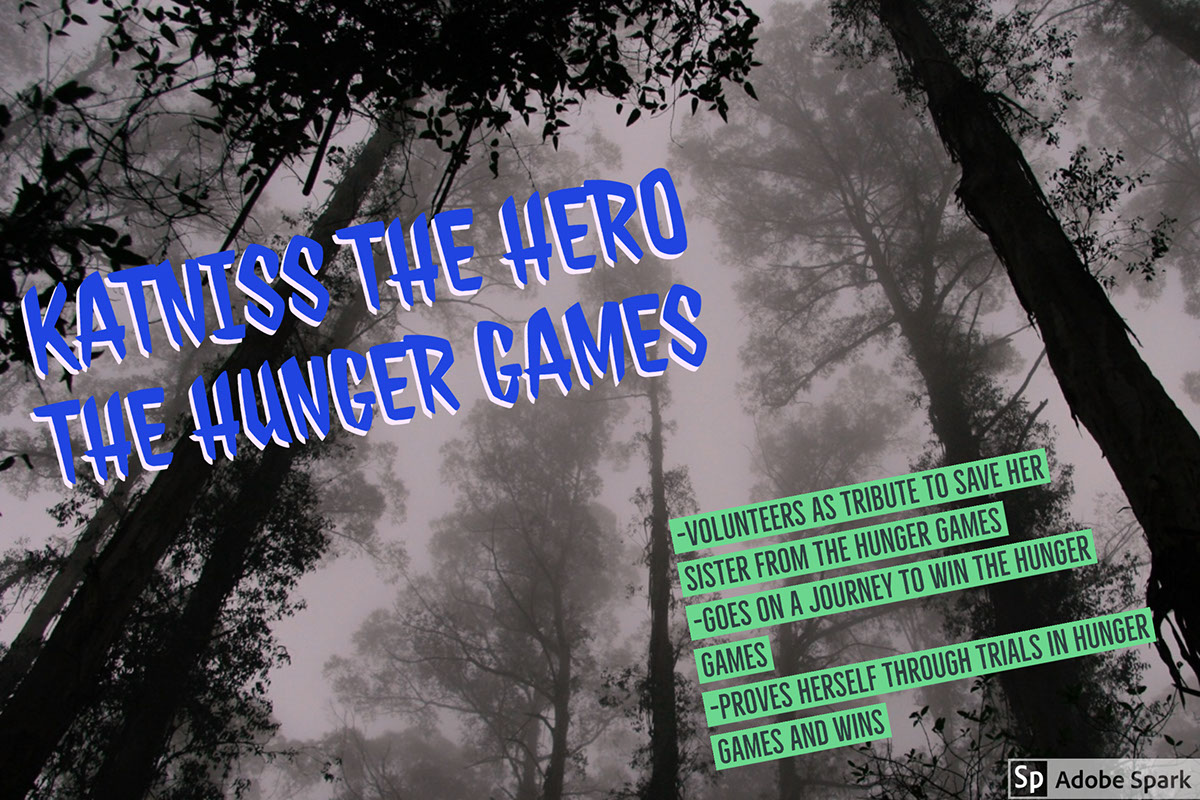 Katniss the Hero The Hunger Games Katniss the Hero The Hunger Games -Volunteers as tribute to save her sister from the Hunger Games -Goes on a journey to win the Hunger Games -Proves herself through trials in Hunger Games and wins