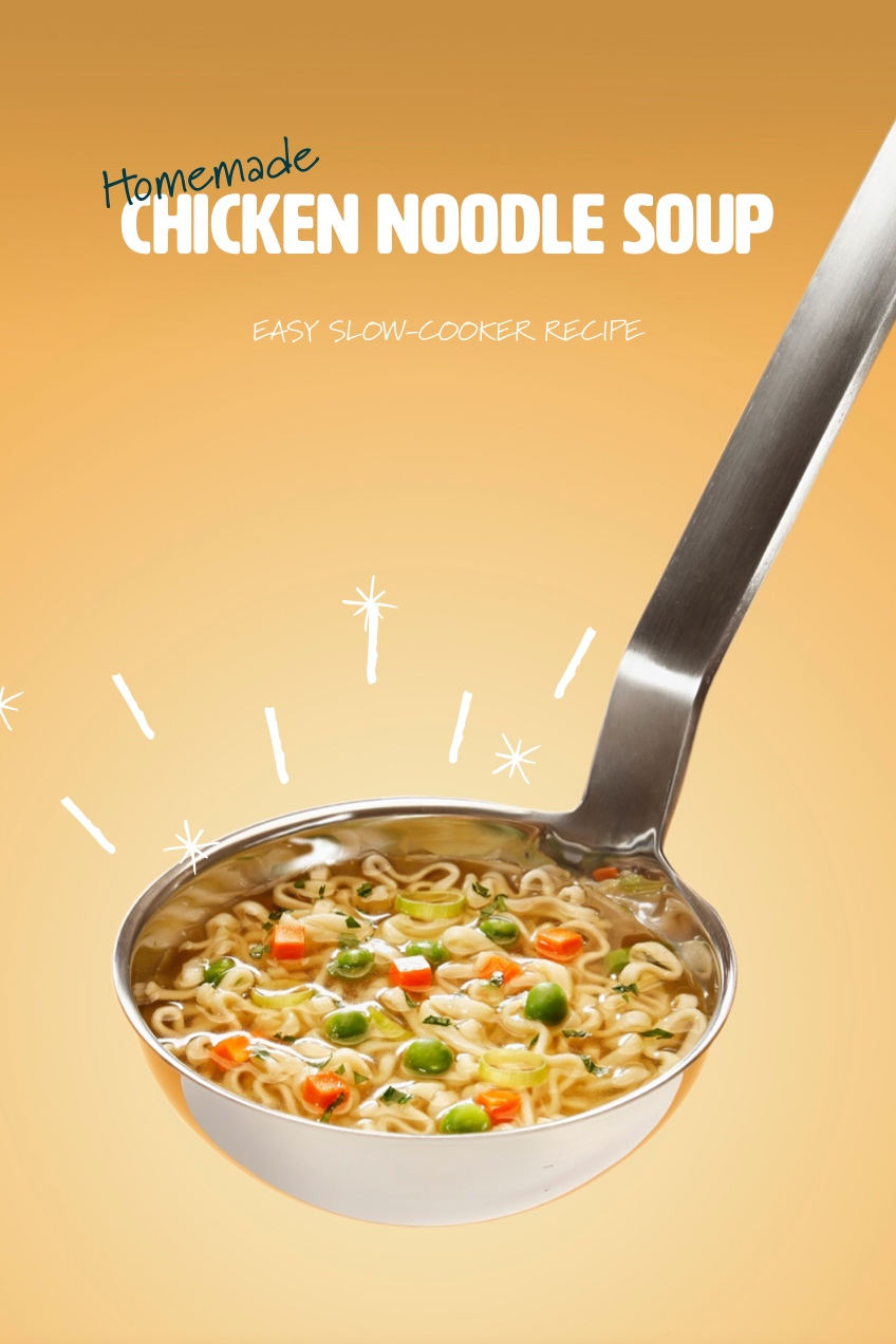 Orange Homemade Soup Recipe Pinterest Graphic with Ladle Homemade<P>Chicken Noodle Soup<P>Easy slow-cooker Recipe