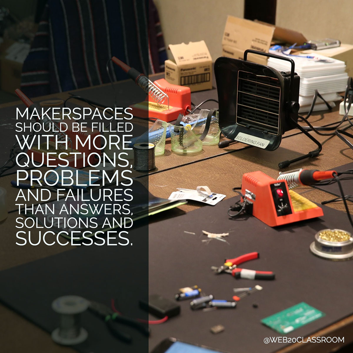 Makerspaces should be filled with more questions, problems and failures than answers, solutions and successes.