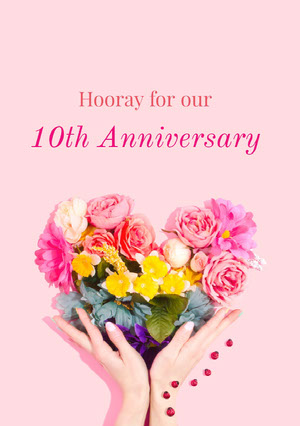 Pink and Flower Bouquet Anniversary Card Biglietto di anniversario