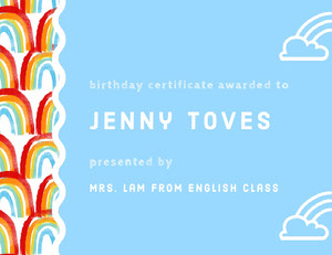 Blue and White Birthday Certificate Birthday Certificate