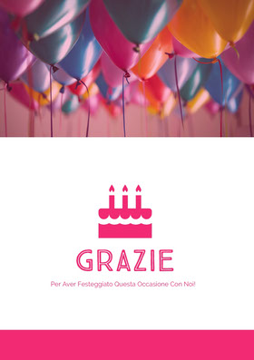 birthday balloons thank you cards  Biglietto di ringraziamento