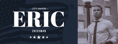 Blue and Sepia Toned City Mayor Facebook Cover Voting