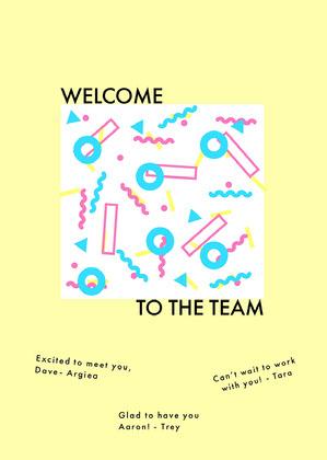 yellow memphis group welcome card Cartão com Mensagem de boas-vindas ao Grupo