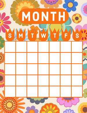 70s Blank Calendar Calendario