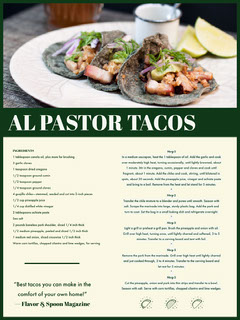 Al Pastor Tacos Recipe Card Cooking