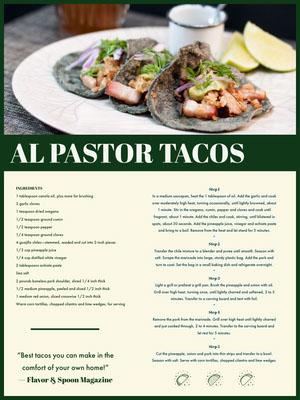 Al Pastor Tacos Recipe Card Livro de receitas