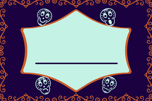 Purple Sugar Skulls Halloween Party Name Tag Nimikortti