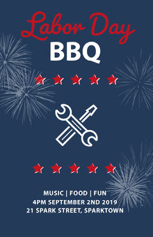 Navy Blue White and Red Labor Day Poster BBQ Menu