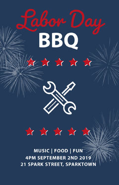 Navy Blue White and Red Labor Day Poster Food Flyer