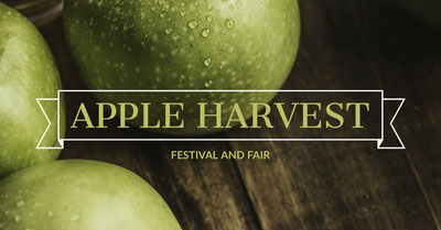 Green and Brown Apple Harvest Event Ad Facebook Banner Tamaño de Imagen de Facebook