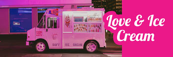 Pink, Bright, Flashy Ice Cream Truck Ad Twitter Header Twitter Image Size