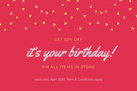 Red Birthday Discount Coupon with Confetti 生日卡片