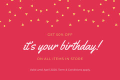 Red Birthday Discount Coupon with Confetti Discount