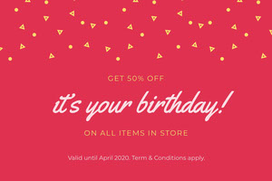 Red Birthday Discount Coupon with Confetti Bon