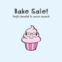 Blue and Pink Cute Bake Sale Fundraiser Instagram Square Cupcake