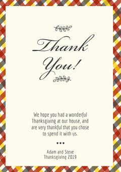 Elegant Calligraphy Thanksgiving Dinner Thank You Card Thanksgiving