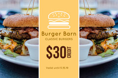 Yellow Burger Gift Certificate  Gift Card