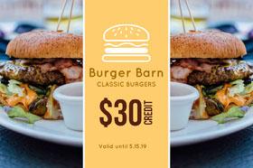 Yellow Burger Gift Certificate  Cartão-presente