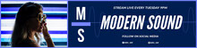 White and Navy Blue Modern Sound Twitch Banner Banner per Twitch