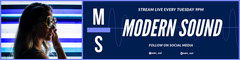 White and Navy Blue Modern Sound Twitch Banner Stream
